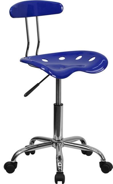 Flash Furniture Vibrant Nautical Blue And Chrome Computer Task Chair