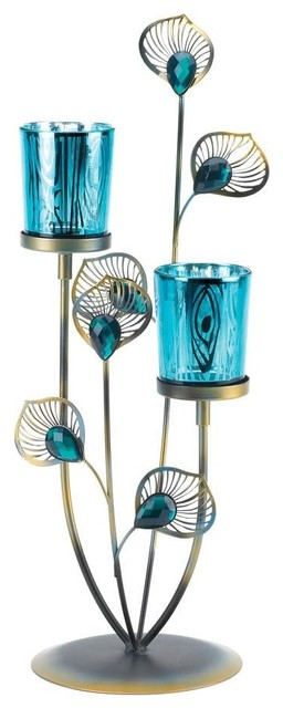 Double Peacock Bloom Candleholder pack of 1 EA