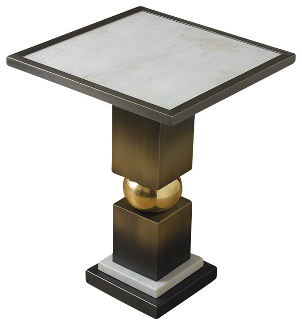 Global Views Squeeze Side Table, Bronze With White Marble Transitional Side  Tables