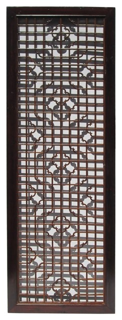 Chinese Wood Screen Panel with Geometric Floral Design  contemporary-wall-accents