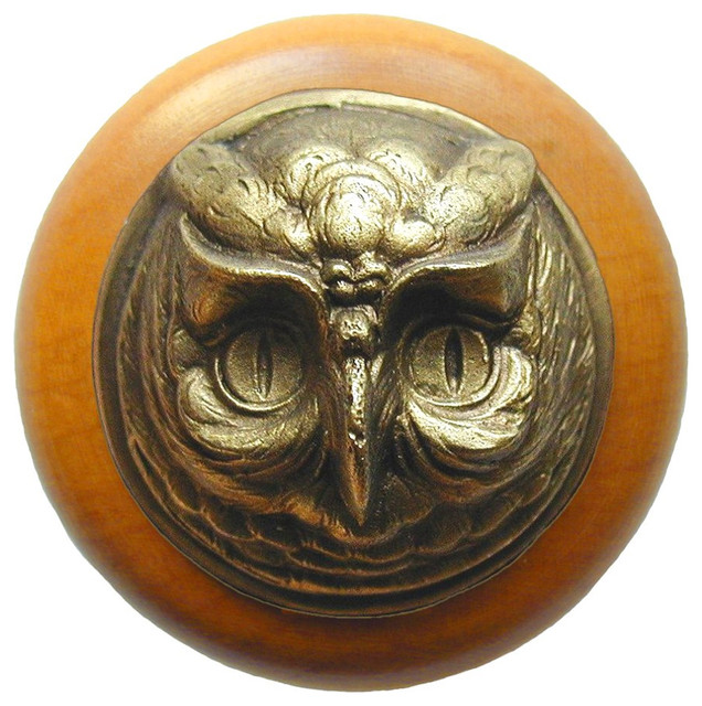 Wise Owl Wood Knob, Antique Brass, Maple Wood Finish - Cabinet And Drawer Knobs - by Notting ...