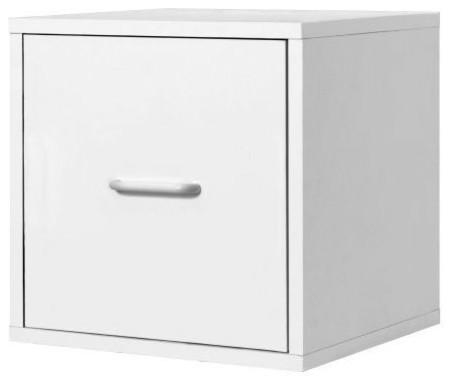 Superbe 1 Drawer Modular File Cube Storage Cabinet, White