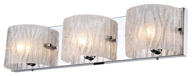 3-Light Bath Vanity Chrome Frosted White Glass
