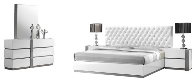 Seville 5 Piece Bedroom Set With Leather Like Headboard Contemporary Bedroom Furniture Sets By Furniture Import Export Inc