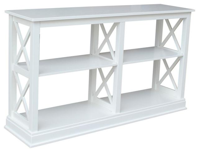 Hampton Sofa Table With Shelves, White.