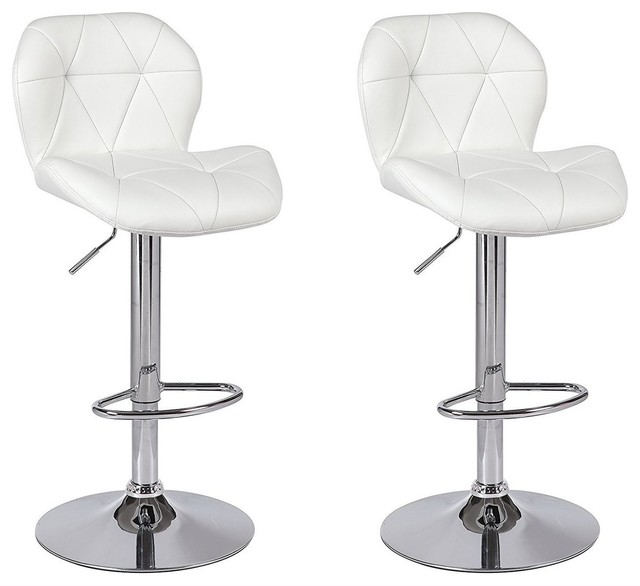 a5d36b0b9980 Tripatch Modern Pu Height Adjustable Dining Bar Stool in White, Set of 2 -  Contemporary - Bar Stools And Counter Stools - by Best Made Furniture