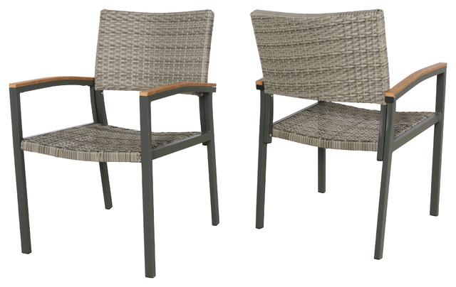 Emma Outdoor Wicker Dining Chair With Aluminum Frame, Set Of 2, Gray.