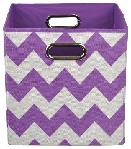 Merveilleux Color Pop Purple Chevron Folding Storage Bin