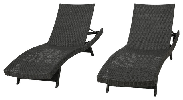Olivia Outdoor Lounge Chairs, Set Of 2, Gray Tropical Outdoor Chaise