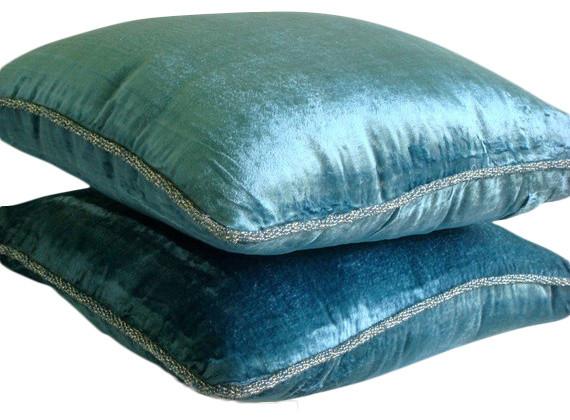 """Handmade Velvet Blue Pillow Covers, Velvet 16""""x16"""" Cushion Covers, Blue Shimmer."""