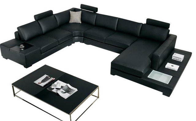 Black Top Grain Italian Leather Sectional Sofa