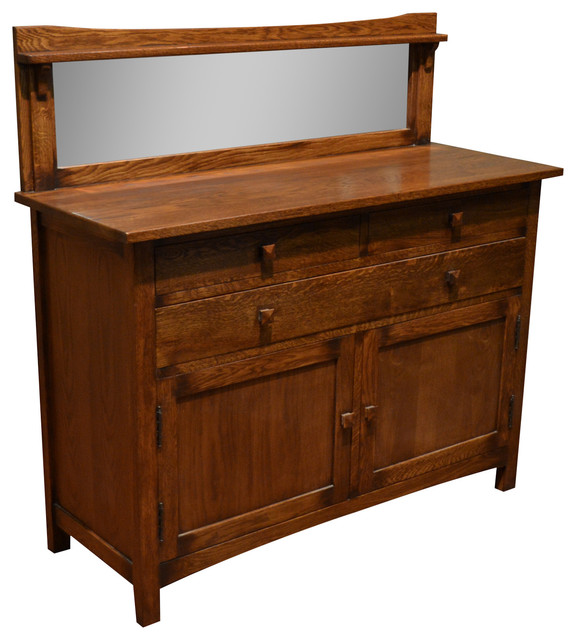 Mission Solid Oak Sideboard Buffet With Back Mirror
