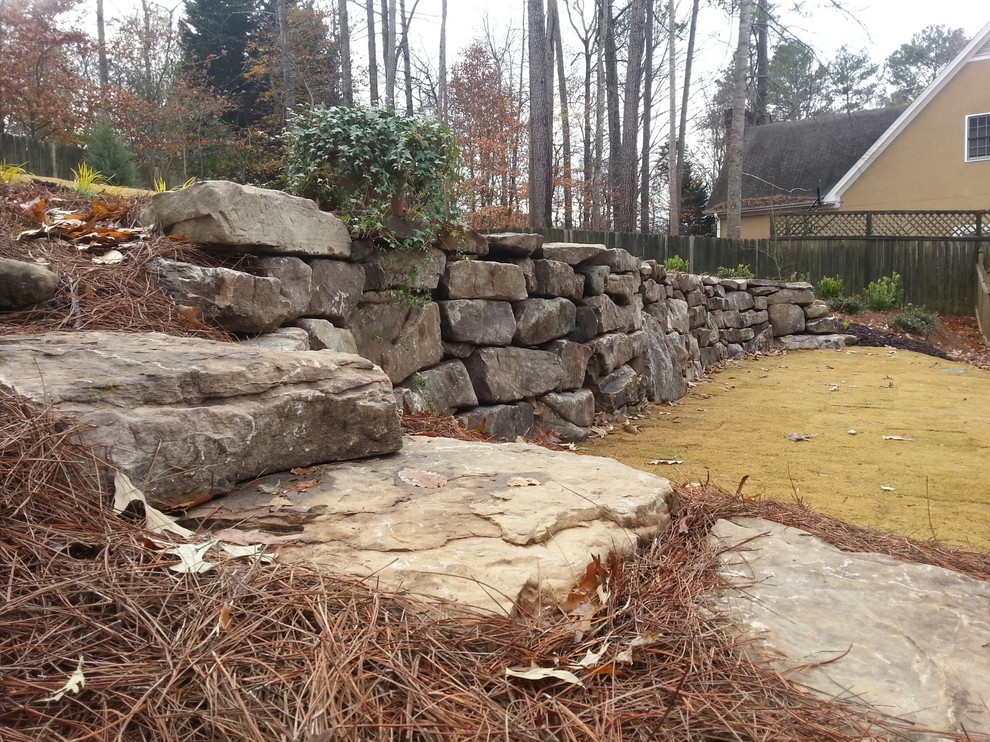 Field stone wall and steps