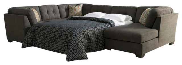 Delta City Raf Corner Chaise Sectional With Armless Sleeper, Steel.