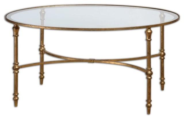 uttermost 24338 vitya glass top metal leg coffee table