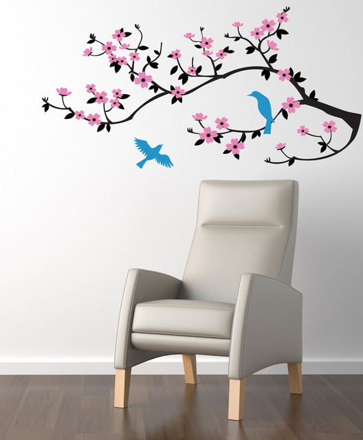 lovely birds on a cherry branch decal - contemporary - wall decals