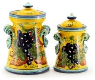 Uva fondo giallo renaissance canisters curly handles set for Hearth and home designs canister set