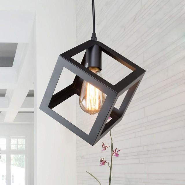 Laluz Transitional Black Cube Retro Style Mini Ceiling Pendant Lighting Shade