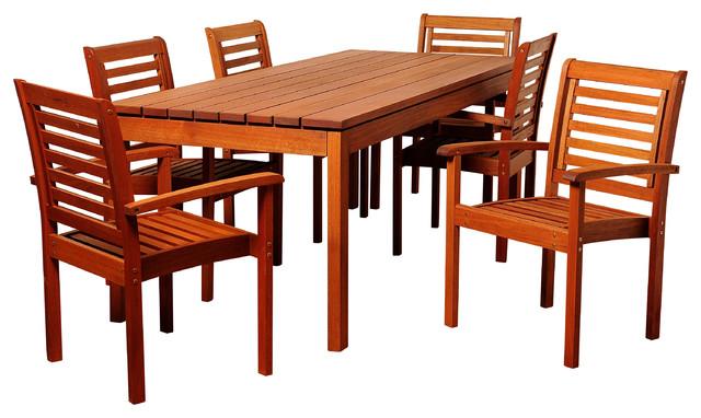 Emerson 7-Piece Eucalyptus Rectangular Patio Dining Set.