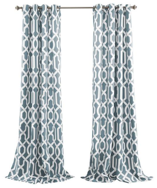 Trellis Pattern Blackout Curtains Blue Set Of 2