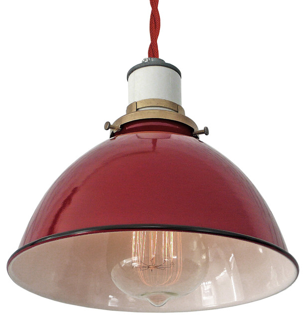The Sullivan Industrial Lamp Red Twisted Cord Pendant Farmhouse Pendant Lighting
