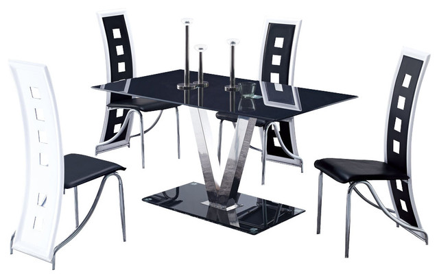 Global Furniture Usa 551dt 5 Piece Glass Dining Room Set With Black