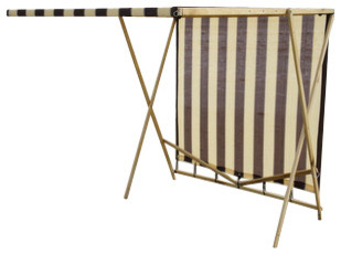 Shark Shade Portable Shade Blue And Yellow, Brown And Tan.
