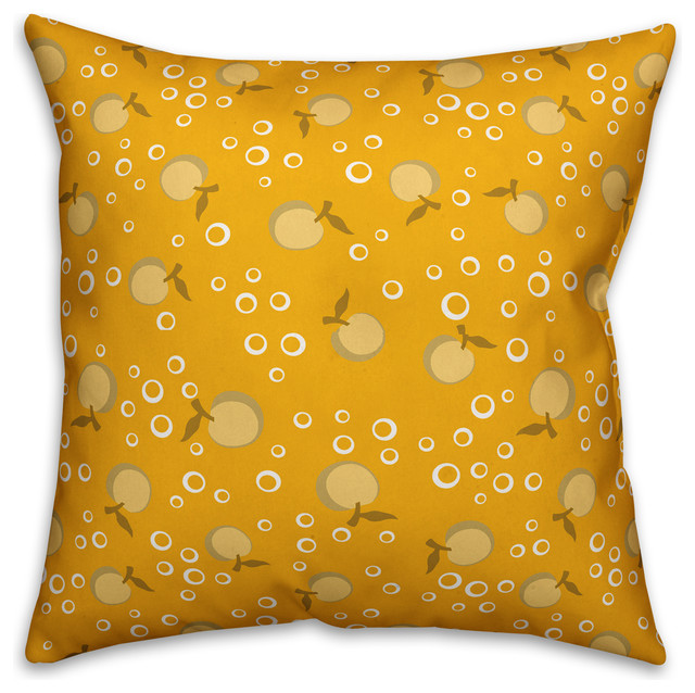 Whimsical Cherry Pattern Yellow Outdoor Throw Pillow 20 X20