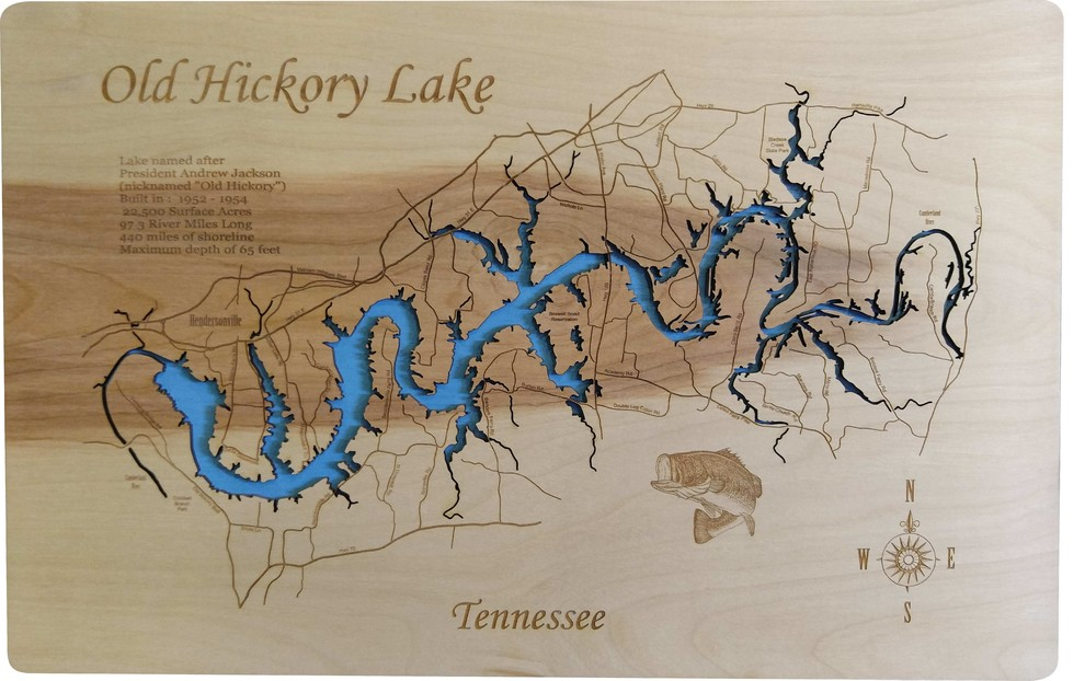 Cherokee Lake Map Engraved Bamboo Cutting Board 9.75x13.75 inches Tennessee