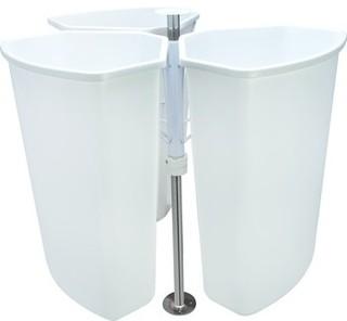 Waste Bin, Corner Recycling Bin, 3 Bins, 32 Quart, Chrome/White - Traditional - Trash ...