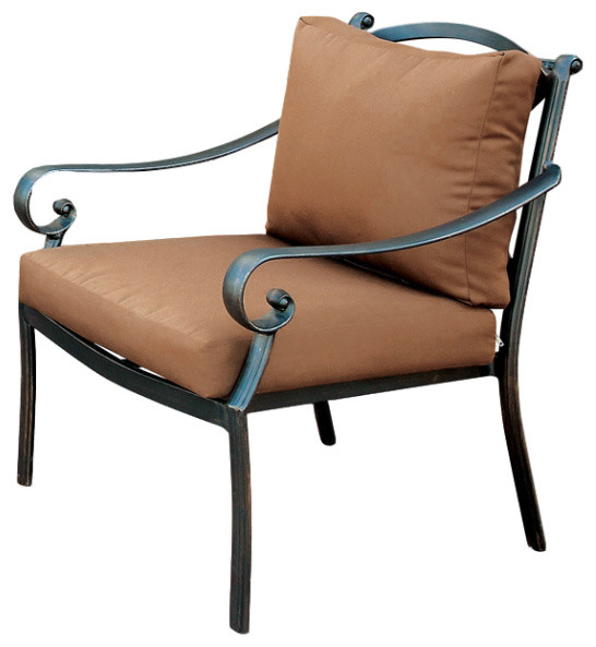 Milford Contemporary Patio Chair, Distressed Black And Brown.
