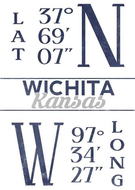 Quot Wichita Kansas Latitude And Longitude Blue Quot Print