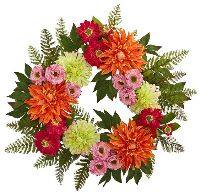 """20"""" Dahlia Wreath."""