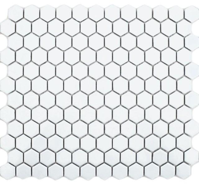 Hexagon Matte Tiles, 1 Sheet, White Gloss