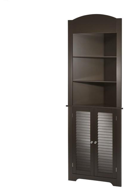 Marvelous Espresso Bathroom Linen Tower Corner Towel Storage Cabinet With 3 Open Shelves Interior Design Ideas Clesiryabchikinfo