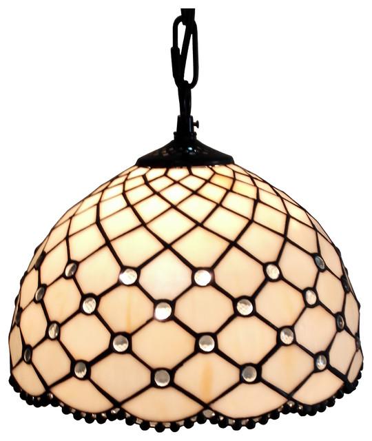 Amora Lighting  Jewel Tiffany Style Hanging Lamp 12 In.
