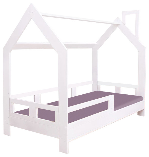 House Frame Bed With Safety Barrier, Different Colours