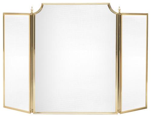 English Brass Fireplace Screen, Medium