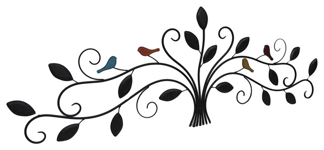 Metal Bird Wall Art Leaves Birds And Branches Metal Wall Sculpture  Contemporary