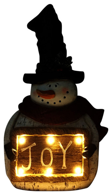Christmas Snowman With Joy Sign Light Up Statue Decor.