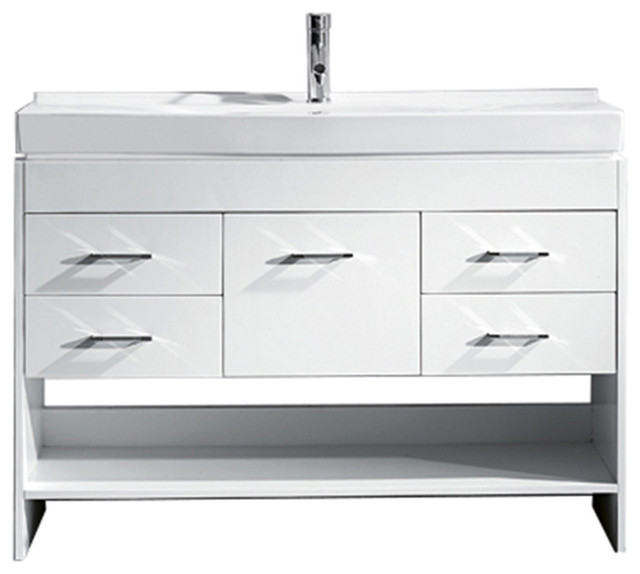 Edinburgh Vanity, White With Polished Chrome Faucet, 48""
