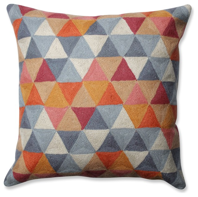 Pillow Perfect Triangle Grid Throw Pillow, Citrus Gray 16.5.