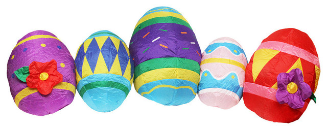 Inflatable Lighted Easter Eggs Yard Art Decoration, 10'