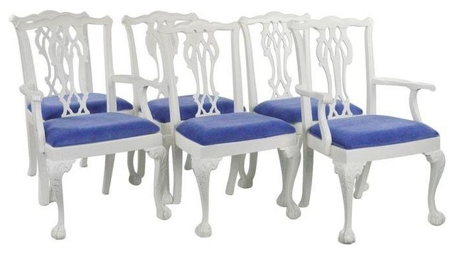Ordinaire White Painted Chippendale Dining Chairs   Set Of 6