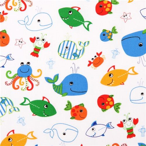white sea creature whale marine fabric 'Oceans of Fun' Blank Quilting USA