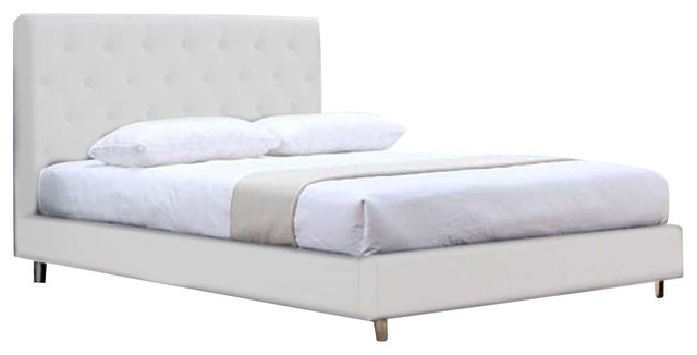 Miles Ii White Eco-Leather Queen Bed By Casabianca Home.