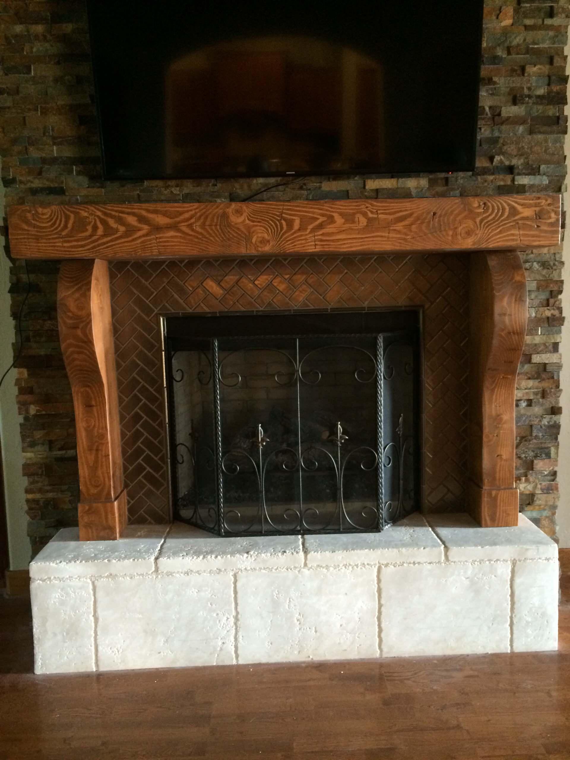 Hand Hewn Fireplace Mantel