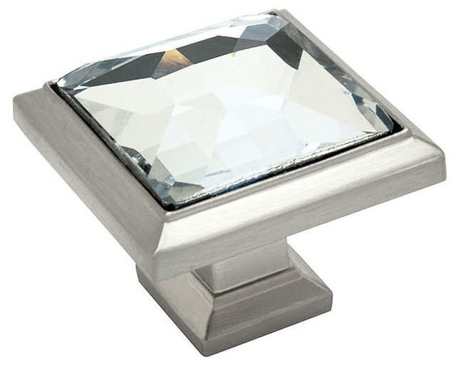 Cosmas Square Cabinet Knob, Satin Nickel And Clear Glass
