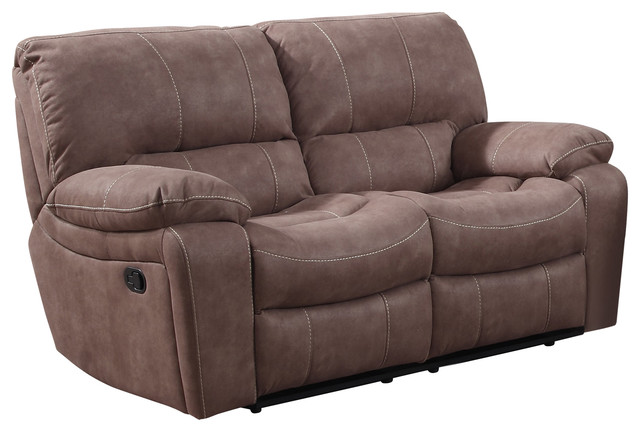 Banner Mocha Suede Reclining Loveseat contemporary-loveseats  sc 1 st  Houzz : recliner love seats - islam-shia.org