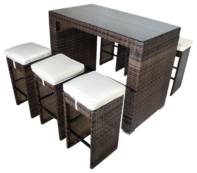 Amazing Roseland 7 Piece Glass Bar Height Dining Set Shades Of Brown Home Interior And Landscaping Ologienasavecom